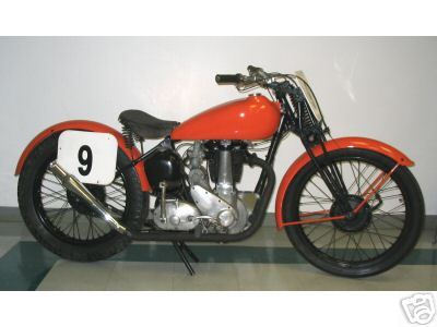 This is a competetion racing bike that was run at Daytona Beach in the late '40's to early 50's.