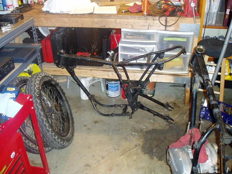 Racing frame + second swing arm. The swing arm spindle was frozen up but some persuasion with heat & Kroil got it loose.